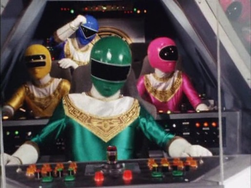 1 - 4 Rangers in Zeo Megazord Cockpit - Episode 22.jpg